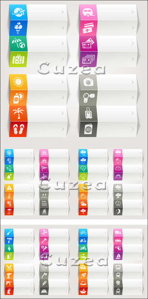Color icons on white banners in vector
