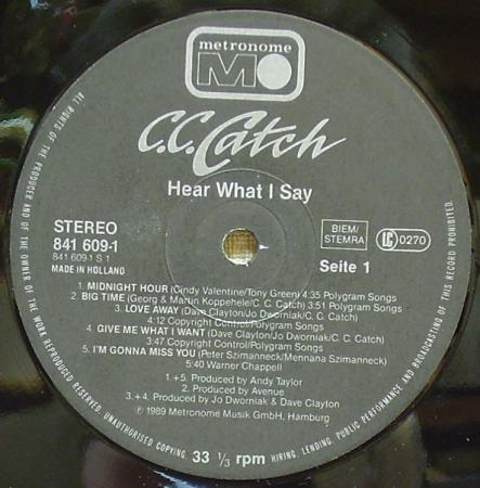 C.C.Catch - Альбом Hear What I Say (1989),vinyl-rip
