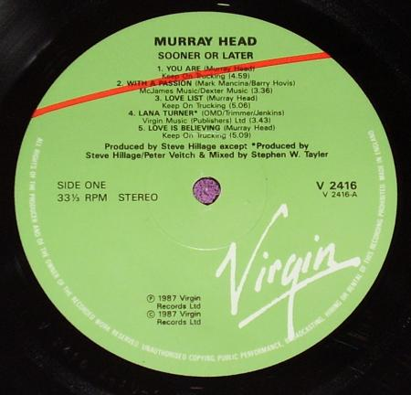 Murray Head ‎– Sooner Or Later (1987), vinyl-rip