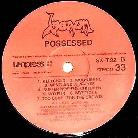 Venom - Possessed (1985), vinyl-rip
